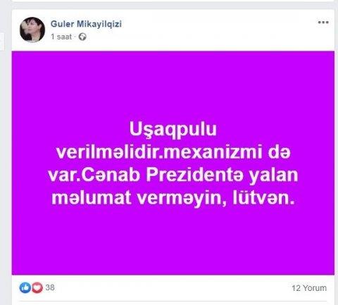 """""""Uşaqpulu verilməlidir, cənab Prezidentə yalan məlumat verməyin..."""" — Sabiq deputatdan ÇAĞIRIŞ"""