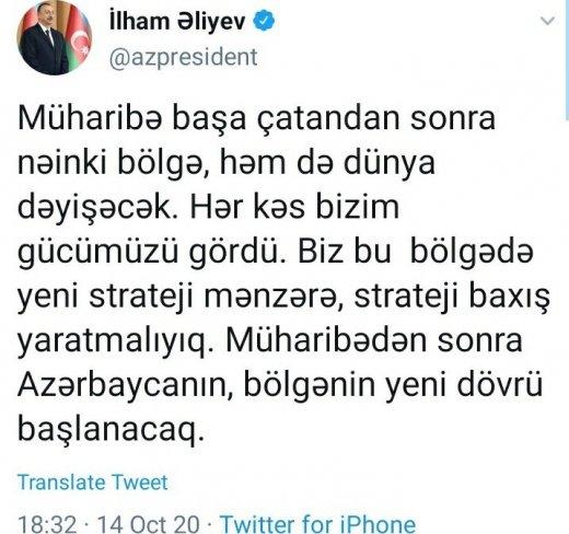 """Prezident Qarabağla bağlı yeni """"tvit"""" yazdı - ŞƏKİL"""