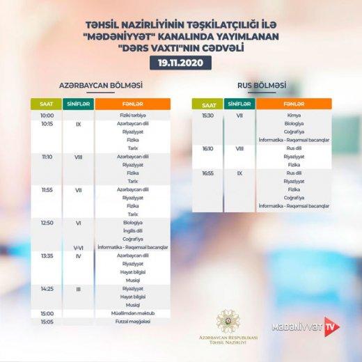 """""""Dərs vaxtı""""nın bu günə olan cədvəli"""